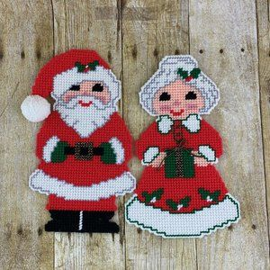 Santa X Mrs Claus Magnets Plastic Canvas Completed